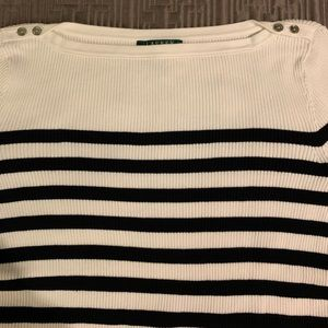 Ralph Lauren Cotton Striped White/Black Sweater L